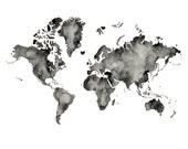 5x7, 8.5x11or 11x14  - World Map Print
