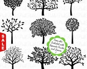 Sale! Tree Silhouettes Clipart Clip Art, Family Tree Clipart Clip Art - Commercial and Personal Use