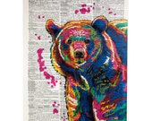 Colorful Bear on a Vintage Dictionary Page