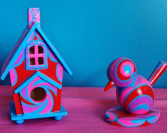 Pink and Red Birdhouse and Bird Handpainted/Mini-Sized/Swirls of Color/Shelf or Desktop Diplay/Matching Set/Purple/Blue/Red/Pink