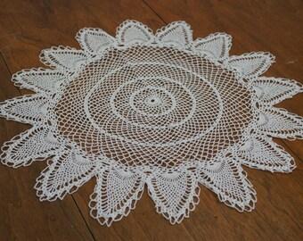 Round Handmade Crochet Doily Table Topper White Cotton Large 19 Inch Diameter