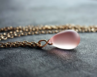 Long Rose Gold and Rosy Pink Matte Teardrop Pendant Necklace Free US Shipping