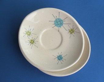 Franciscan Ware Starburst Saucers Set of 2 Buy One or Both 1950s Atomic Stars Dinnerware Mid Century Dish
