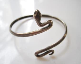 Vintage Snake Bracelet - Sterling Silver Serpent Bangle - Serpent Jewelry - Snake Jewellery