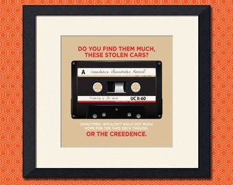 The Big Lebowski Creedence Tape Art Print, Various Sizes Available