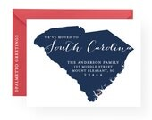 """PRINTED - Set of 8 - A2, 4.25"""" x 5.5"""" State Silhouette New Address Cards Customized for your State or Country, Moving Announcement, New Home"""