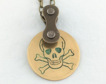 Blue Skull Bicycle necklace, Cycling jewelry, skeleton brass, bike pendant, cycling necklace, tour de france inspired,