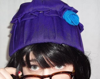 Silk Purple Cloche With Blue Rosette, Paisley Lining, 1920s Style