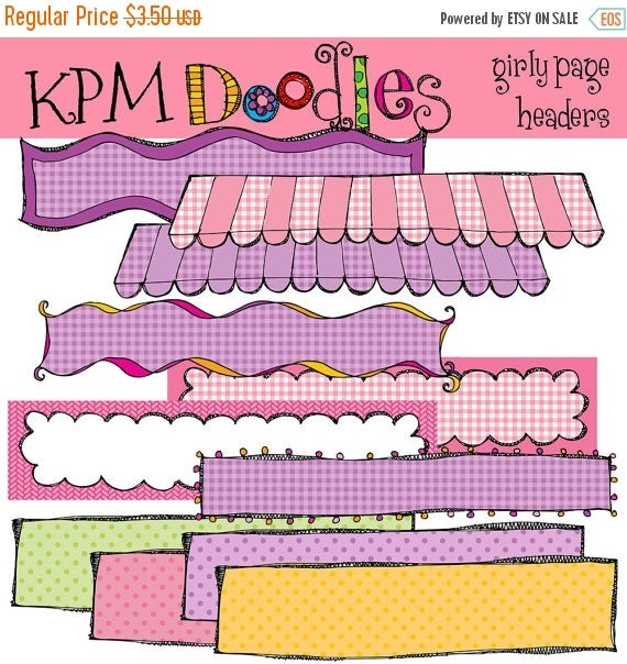 ON SALE KPM Girly Page Headers banners digital clipart