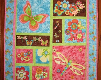 Quilted Wall Hanging, Floral, Butterfly, Dragonfly, Fanciful, pink, blue, fabric from Wilmington Prints