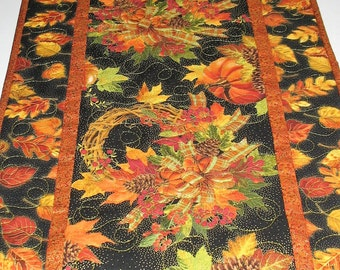 Fall Table Runner, Pumpkins, Leaves, Thanksgiving wreath, quilted, fabrics from Timeless Treasure