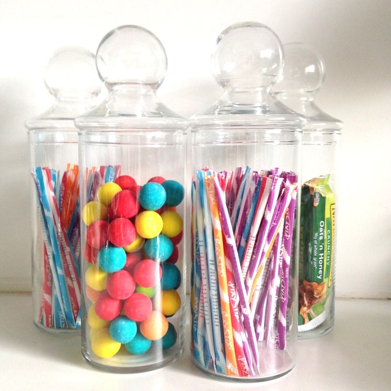 vintage clear glass jars with lids covered candy container. Black Bedroom Furniture Sets. Home Design Ideas