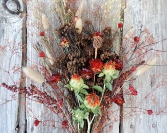 Dried Flower Bouquet Floral Arrangement Wildflowers Safflowers Bunny Tail Pods Star Flowers Baby's Breath Free Lavender Lace Sachet