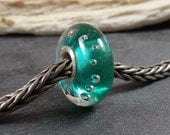 Teal Bubbles, Lampwork Bead by Irene, silver lined core 925, artisan glass bead