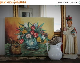 SHOP SALE Vintage Tulip Still Life Painting