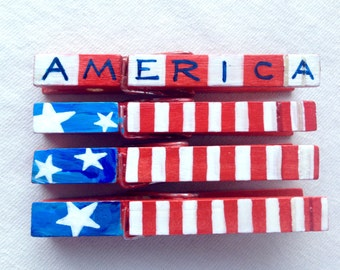 AMERICA red white and blue stars and stripes USA election pin hand painted magnetic clothespin set  independence day