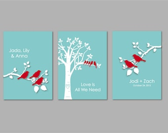 """Blended Family Gift Blended Family Sign Personalized Custom Love Birds Family Tree Bird on Branch - Set of three 8""""x10"""" You Choose Colors"""