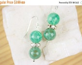 Christmas in July Green Agate Gemstone Earrings with Sterling Silver French Wire Hooks
