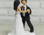 Dancing couple custom wedding cake topper