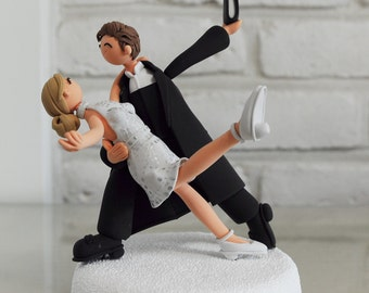 Dancer and Minister custom wedding cake topper