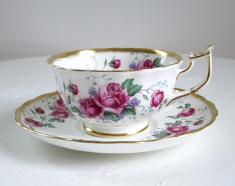 Vintage Pink Rose Tea Cup and Saucer, Vintage Royal Chelsea Briar Rose Teacup Set, Vintage Cup and Saucer, Pink Rose Teacup SwirlingOrange11
