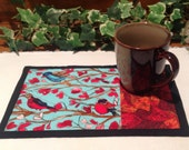 Quilted Mug Rug - Fall Birds in Trees  Snack Mat -  Candle Mat Quiltsy Handmade