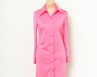 Vintage Dress / Retro / Shirtdress / Pink dress / 70s dress / Dresses / Vintage shirtdress / long sleeve / 1970s / 80s dress / Evening dress