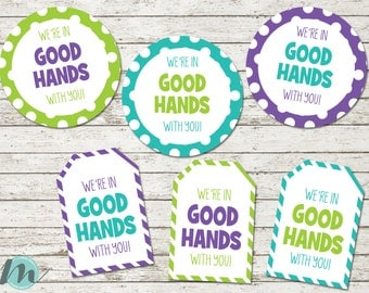 "Teacher Appreciation ""We're in Good Hands with you!"" Tags, Teacher Appreciation, Thank You, Tags, Digital Download, Digital Printable"