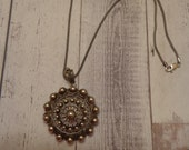"Gorgeous Vintage Sterling Silver Pendant on 18"" Oxidized Sterling Popcorn Chain"
