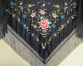Flamenco Black shawl ( pico )  with multicolor embroidered design