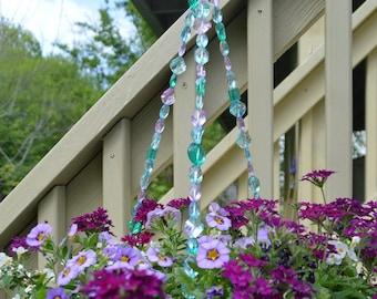 Pink, blue, teal hanging basket wire