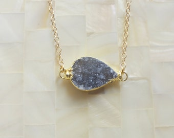 Sparkling Gold Edge Sugary Black Druzy Drusy Connector on Gold Chain Necklace (N1694)