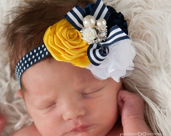 Baby Headbands, Navy baby headband, Baby headband, Baby hair bows, girls headbands, flower headband, nautical headband, Baby hair bows.
