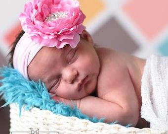 Pink baby headband, Baby headbands, Christening headband,Big Bow Baby Headband,Newborn headband, Big Flower Headband, Baby Girls Hair bows.