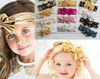 CLEARANCE SALE Baby Headbands, Girls Head wraps, Messy Bow Baby Head wraps, Jersey Knit Headwraps, Big Bow Baby Headbands, Knott Headband,