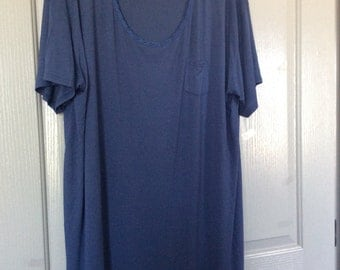 Long nightgown/dress/lounger/plus size NWOT 2X recycled fabric made in Vietnam  short sleeve blue