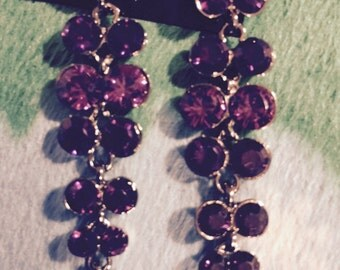 Stolen: see details!Purple crystal long dangling cluster earrings Silvertone new without tags