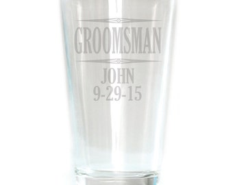 Personalized Pub Glass - 16oz - 8591 Groomsman Personalized