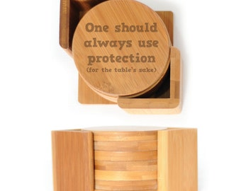 Wooden Round Coasters - Set of 6 with holder - 2494 One should always use Protection
