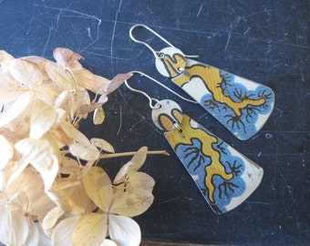 Tin Earrings, Blue and Gold Vintage Tin, Long, Light Weight Dangles, Ready to Ship