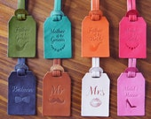 Personalized Wedding Favors Leather Luggage Tags Monogrammed x8 Bundle, bridesmaid, best man, bride, mother, father, maid of honor
