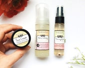 Natural Skincare Set for Dry or Mature Skin - Organic Cleanser, Toner Mist, and Facial Cream Moisturizer in Gift Bag