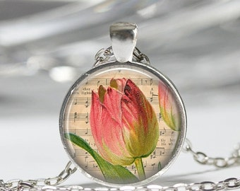ON SALE Pink Tulip Necklace Spring Flower Floral Garden Nature Art Pendant in Bronze or Silver with Link Chain Included