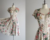 60s Dress . 1960s Boho Dress . Full Skirt Dress . Floral Dress . Button Down Dress