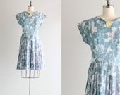 50s Floral Dress . Blue and White Pleated Dress . 50s 60s Vintage Day Dress