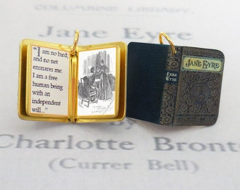 Jane Eyre by Charlotte Bronte - Miniature Book Charm Quote Pendant - for charm bracelet or necklace. Custom available!