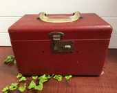 1940/50's Vintage Red Leather Train Case Suitcase- vintage case, vintage suitcase, train case, 45 record box, record case, record holder