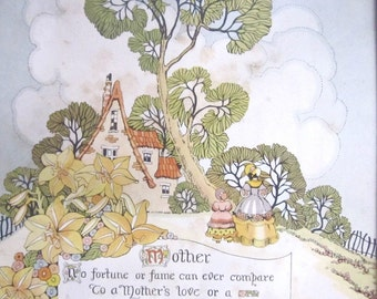 Art Deco Print Mother Vintage Wall Hanging Mothers Day Gift Mom Poem Tiger Lilies Cottage Chic Home Decor 1940s