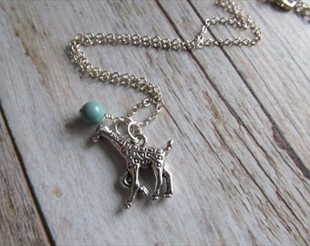 Giraffe Necklace -Giraffe Charm with an accent bead in your choice of colors