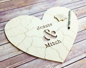 80 pc Wedding Guestbook Puzzle, guestbook alternative, wood HEART puzzle guest book Bella Puzzles™ rustic wedding, minimalist modern